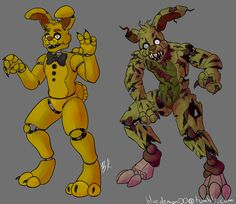 Spring Bonnie and Springtrap Horror Video Games, William Afton, Fnaf Sl, Freddy 's, Fnaf Sister Location, Fnaf Characters, Freddy Fazbear, Fnaf Drawings, Fan Art