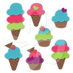 Cupcakes and Ice Creams Clip Art Set