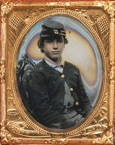 +~+~ Antique Photograph ~+~+   Young soldier in Union sack coat and forage cap.  1861-1865