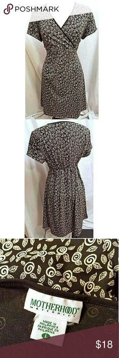 "Motherhood Maternity Black Tan Floral Dress Made by Motherhood Maternity Size Large 100% Polyester Machine wash and dry Cross front bodice Ties in the back  Measurements are approximate:      Length 38""     Chest 40"" Motherhood Maternity Dresses"