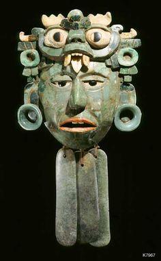 Maya. Jade. Greenstone. Coral. Bone. Obsidian. Belt mask with dangles