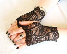 4 Finger Less Fancy Lace mittens