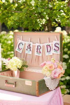Loving this vintage suitcase card holder {Photo by Katelyn James via Project Wedding} DIY wedding card box ideas. Vintage Suitcase Wedding, Vintage Suitcases, Wedding Suitcase For Cards, Diy Wedding Decorations, Reception Decorations, Vintage Wedding Centerpieces, Shabby Chic Wedding Decor, Decor Wedding, Wedding Receptions