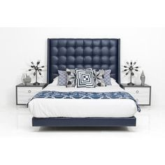 St. Tropez Bed in Navy Faux Leather ($1,759) ❤ liked on Polyvore featuring home, furniture, beds, dark blue furniture, fake leather furniture, faux leather furniture, navy headboard and modern furniture