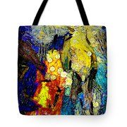 Carnival Tote Bag by Riccardo Zullian abstract,blue, red, colorful, painting, modern, black, texture, design, contemporary, color, office, white, green, water, back, ground, art, pattern, colors, landscape, geometrical, sand, bedroom,squarelight
