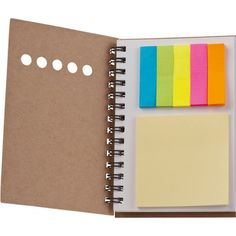 Eco notepad/sticky notes Eco friendly note pad with 100 pages, 25 adhesive sheets and a set of 5 coloured markers with 25 sheets each.   Product size 9,3 x 13,2 x 0,9 Branding size 5 x 3
