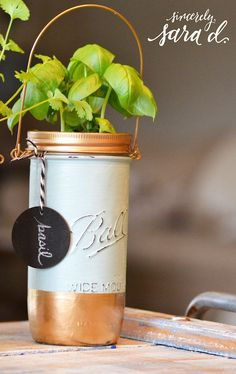 DIY tutorial for planting herbs in mason jars - so cute in the kitchen!