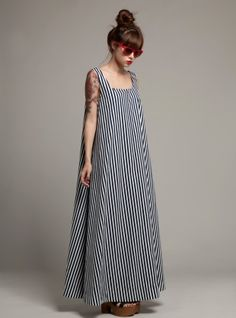 Young British Designers EMELINE Navy & White Cotton Fine Stripe Maxi Dress- SOLD OUT by Kelly Shaw
