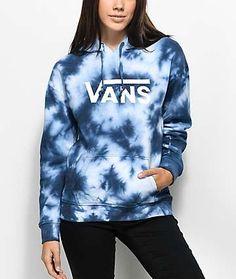vans hoodie Vans Drop V Blue Tie Dye Hoodie Trendy Hoodies, Comfy Hoodies, Cheap Hoodies, Girls Hoodies, Vans Outfit, Hoodie Outfit, Tie Dye Shirts, Tie Dye Hoodie, Vans Shirts