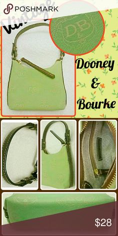 Vintage Dooney Mini Bitsy Dooney & Bourke Minature Mini Bitsy Bag Green Donegal Crest & Brown Leather Purse. Excellent condition! Dooney & Bourke Bags