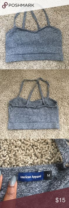 American Apparel Crop Top Heather gray American Apparel crop top. Size M but could easily fit a size S or XS. Sweetheart neckline and crisscross straps in the back. American Apparel Tops Crop Tops