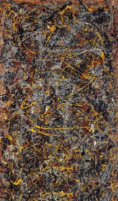 """No. 5, 1948 by Jackson Pollock. Painted the year I was born. I love Pollock's paintings. When I was a teenager, I would take the train down to the city...walk to MOMA, find a Jackson Pollack...and just sit there on a bench and just """"contemplate""""! Sounds a little crazy I guess....but I found it very relaxing...."""