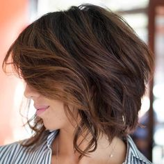 Wavy Choppy Brunette Bob