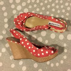 American eagle peep toe polka dot wedges NOT modcloth, listed for visibility. Worn 1-2x just too high for me! Excellent condition. ModCloth Shoes Heels