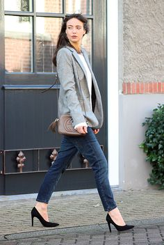 fall / winter - street style - street chic style - fall outfits - casual outfits - work outfits - grey houndstooth blazer + white t-shirt + straight crop jeans + black stilettos + brown shoulder bag