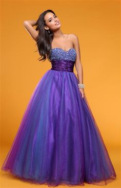 Empire Sweetheart Purple Beading Tulle Floor-length Prom Dress at Millybridal.com
