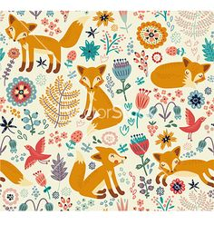 Fox forest pattern. Floral background vector by annaguz on VectorStock®