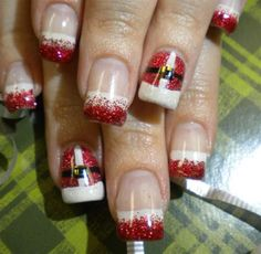 Santa nail. I like all the rest plain French and just one a Santa nail