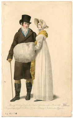 Women 1800-1819 Part 1, Plate 069. Fashion plates, 1790-1929. The Costume Institute Fashion Plates. The Metropolitan Museum of Art, New York. Gift of Woodman Thompson (b17509853) | Winter whites. #fashion