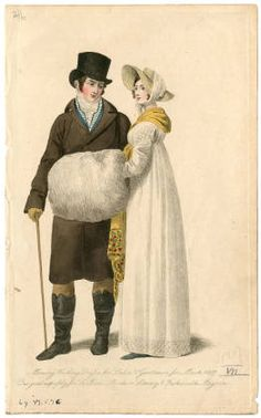 Women 1800-1819 Part 1, Plate 069. Fashion plates, 1790-1929. The Costume Institute Fashion Plates. The Metropolitan Museum of Art, New York. Gift of Woodman Thompson (b17509853) | Winter whites. #fashion