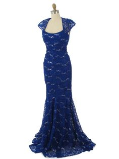 Vintage Inspired Sequined Sapphire Blue Lace Cap Sleeve Gown with Cutout Back