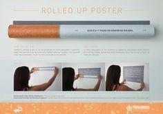 담배의 위험성을 포스터 자체를 담배형식으로 말아서 나타내는 기발한 포스트