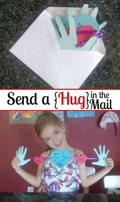 So cute! Send a Hug in the mail. This would be a perfect homemade Grandparent's Day, Get Well Soon or Valentine's Day card.   http://www.evolvingmotherhood.com