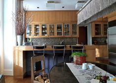 Stedila Design - Kitchen renovation with custom cerused oak cabinets and statement chandelier Kitchen Interior, Kitchen Design, Oak Cabinets, Built In Shelves, Beautiful Kitchens, Portfolio Design, Contemporary, Interior Design, Table