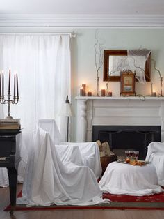Effortlessly Eerie Living Room These decorating tricks are so easy, it's frightening. Use sheet-draped chairs to give your room the look of ruin. Read more: Halloween Party Decor - Spooky Halloween Decorating Tips - Country Living