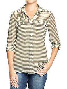 Women's Printed Chiffon Shirts | Old Navy