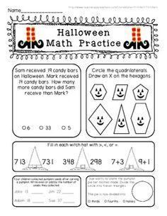 Freebie! Halloween Math Morning work practice sheet