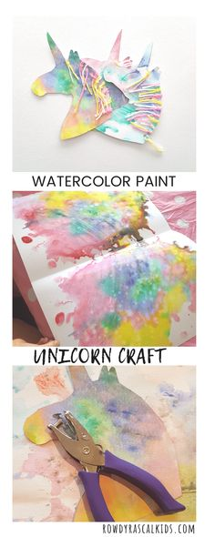 Sewing Crafts For Children Watercolor Unicorn Craft - A unicorn art and craft project for kids using watercolor paints and a weaving activity using yarn for the mane. Unicorn Kids, Unicorn Crafts, Unicorn Art, Rainbow Unicorn, Unicorn Club, Craft Projects For Kids, Arts And Crafts Projects, Craft Activities For Kids, Funny Crafts For Kids