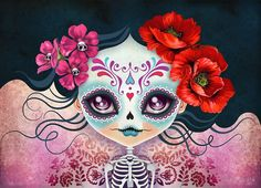 """""""Amelia Calavera - Sugar Skull"""" Digital Art by Sandra Vargas posters, art prints, canvas prints, greeting cards or gallery prints. Find more Digital Art art prints and posters in the ARTFLAKES shop. Et Wallpaper, Sugar Skull Girl, Sugar Skulls, Skull Pillow, Day Of The Dead Art, Mexican Art, Modern Cross Stitch, Art Journals, Crane"""