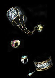 Jewelry sketch Stone Jewelry, Wire Jewelry, Jewelry Art, Metal Drawing, Jewelry Design Drawing, Jewellery Sketches, Jewelry Sketch, Jewelry Editorial, Jewelry Illustration