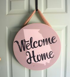 Excited to share this item from my #etsy shop: State Home Sign - Round Welcome Sign - Circle State Door Hanger - Door Decor -  Farmhouse Sign - Welcome Sign - Front Door Decor - World Map #doordecor #roundwelcomesign #doorhanger #entryway #housewarming #homedecor Welcome Signs Front Door, Front Door Decor, Front Doors, Home Garden Design, Home Office Design, Double Entry Doors, Interior Decorating Styles, Decorating Ideas, Home Icon