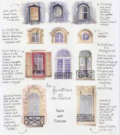 Vinduer i Paris French Architecture, Architecture Details, Paris Architecture, Watercolor Water, House Illustration, Illustrations, Poster S, Urban Sketching, Paris Illustration