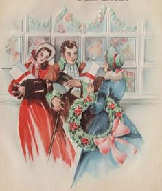 Victorians greet friends at Christmas. Christmas Card Images, Christmas Past, Vintage Christmas Cards, Retro Christmas, Vintage Holiday, Christmas Greeting Cards, Christmas Greetings, Holiday Cards, Christmas Windows