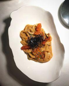 Udon de Erizo fresco y Yema de @GastonAcurio en @DaniGarcia7 Restaurante.   Fresh urchin #udon and yolk   #marbella #malaga #cocinaperuana #gastonacurio #danigarcia