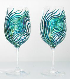 hand painted peacock glasses