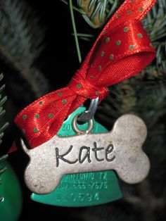 Make an ornament for pets of the past. Tie their tags with ribbon & hook.