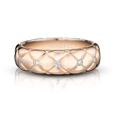 Fabergé - Fine Treillage Rose Vif Ring.    This voluptuous and superbly sculpted ring made of polished rose gold luscious cushions, conjures the sumptuous texture of quilting with studded diamonds.