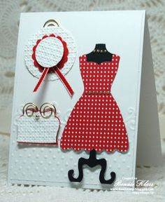 Stamping with Klass: A Closet Full of Dress Up Red polka dot dress with coordinating hat & purse