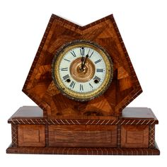 Handsome Arts And Crafts Inlaid Exotic Wood Mantle Clock