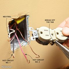 Color coding of wires to properly connect an electrical outlet (C ...