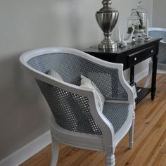 Painted cane back chair- I think the secret to a good looking paint on cane is to paint the wood a contrasting or complementary color.