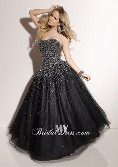Beaded Black Tulle Ballgown Strapless Lace Up Closure MBD7400