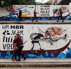 """""""Há Mar e Mar, Há Ir e Voltar"""" - Alexandre O`neill . Art work by FAEL, Bafo de Peixe & Silvestre - Cedofeita Street, OPorto  RU+A & RÉPLICA projects"""