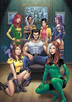 Although this image is an exaggeration of what actually happens in the series, the X-men series, and many other superhero series, does blend masculinity and sexuality. It projects masculinity as the sexualization and/or rejection of the feminine. Pinning for kitty pryde reference