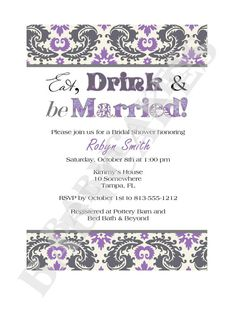 Eat drink and be married Bridal Shower Invitation by jcbabycakes, $10.00