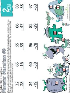 Worksheets: Monster Marathon: Two-Digit Subtraction #9